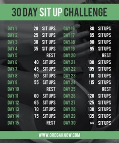 30 Day Sit Up Challenge will help you build up core strength and get that 6-pack!