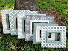 set of six distressed frames--multi patterned in revere pewter, heirloom white, robins egg, & charcoal Chevron Frames, Distressed Frames, Picture Frame Decor, Revere Pewter, Simple Pictures, Frame Display, Frame Crafts, Painting Frames, Decoration