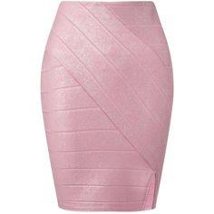 Miss Selfridge Pink Foil Bandage Skirt ($10) ❤ liked on Polyvore featuring skirts, pink, bandage skirt, miss selfridge, pink skirt, pink knee length skirt and miss selfridge skirts
