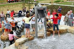 The water playground in Heide-Sud, Halle (Saale), Germany.