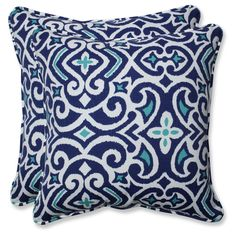 Outdoor/Indoor New Damask Marine Throw Pillow Set of 2 - Pillow Perfect, Blue