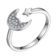 Women Fashion Silver Star Moon Creative Personality : 100% New and High Quality  Color: silver  Material: alloy  Size: inner diameter of 1.7cm  P.