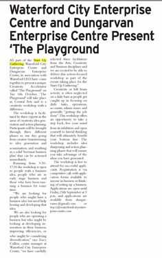 Dungarvan Observer features article on 'The Playground' an event that will take part as part of SG Waterford. Waterford City, Feature Article, Playground, September, How To Plan, Children Playground, Outdoor Playground