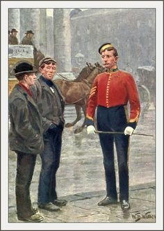 Living London 1902 - William Barnes Wollen (1857-1936), 6-6, Lodon Types - The Recruiting Sergeant, Dragoons. #vintage, #london