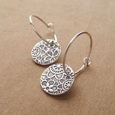 Flowered Hoop Earrings, Fine Silver, Argentium Sterling Silver Ear Wires, Handmade in the USA, Made To Order – hoopearrings Fabric Jewelry, Metal Jewelry, Beaded Jewelry, Silver Jewelry, Jewelry Accessories, Jewelry Design, Precious Metal Clay, Jewelry Crafts, Jewelry Ideas