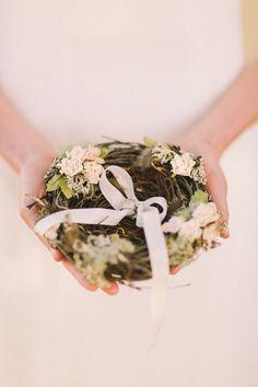 A bird's nest to hold your rings / alternative ring pillow | An Enchanted Garden Styled Wedding Shoot #jennysun: