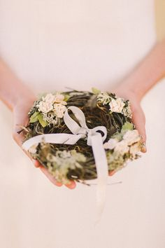 A bird's nest to hold your rings / alternative ring pillow | An Enchanted Garden Styled Wedding Shoot #jennysun: