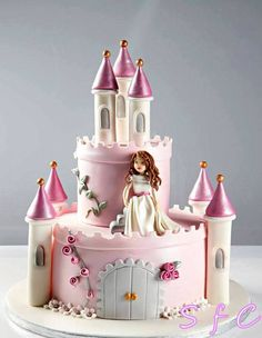 Pink and White Birthday Cakes Girls Kids, Castle Birthday Cakes, Girl Birthday, Castle Cakes, Cake Kids, Husband Birthday, Fondant Cakes, Cupcake Cakes, Fairy Castle Cake