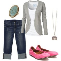 The cardigan and white top and pink shoes!! get-in-my-closet