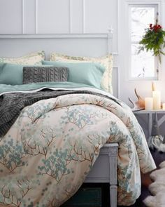 The coziest bedding you'll ever feel, now with a graphic Bittersweet motif inspired by the Arts and Crafts movement. Printed with three colors for a subtle collage effect.