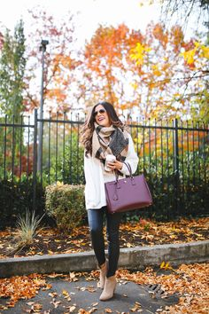 SEPTEMBER 28, 2016 Colors Of Fall - SWEATER: old (similar here – but this would be SO cute too, I have the black version!)| FAUX LEATHER LEGGINGS: Trouve | LEOPARD SCARF: BP (obsessed) | HANDBAG: Prada | HAT: Hinge (I have this in all colors!) | SUNGLASSES: Ray-Ban | LIPS: 'Patina' | BOOTIES: Steve Madden (similar here) | WATCH: Michele | RINGS: Cartier, David Yurman