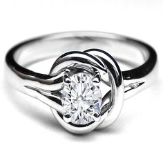 Love Knot Solitaire Oval Diamond Engagement Ring - ER40OV