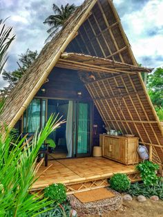 Seaview A-frame Eco Bamboo Bungalow. Bamboo House Design, Tropical House Design, Tropical Houses, Small House Design, Hut House, Tiny House Cabin, Triangle House, Bamboo Building, Jungle House