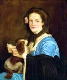 ca. 1851-1853 - 'Portrait of a woman with a dog and a letter' by Juan Cordero, Mexican, 1822-1884.