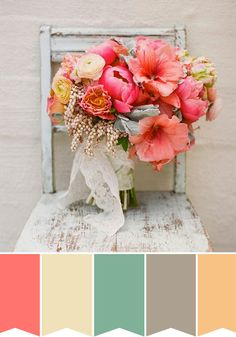 Coral, white, robin's egg blue, grey and gold color palette