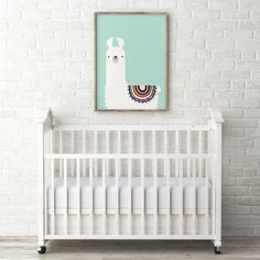 Llama nursery print - Printable gift for children - Kids room decor - Printable art - Cute animal print - Mint pastel color tribal alpaca