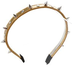 HR221GD/Womens Spike Studded PU Leather Fashion Headband Must-Have Item! Wholesale Hair Band Accessory
