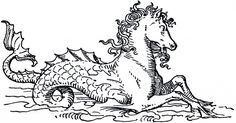 Mythical Sea Horse Image - Rather tempted to embroider this onto the guest bath curtain. It would take ages but be pretty cool in our nautical guest bath!