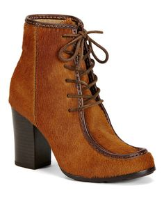 Another great find on #zulily! Cognac Parker Moc Short Leather Boot #zulilyfinds