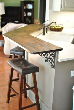 12 Inspired Tricks for Small Kitchen Designs Before and After kitchen renovation, DIY, two-tone, gray kitchen cabinets, butcher block countertop Grey Kitchen Cabinets, Diy Cabinets, Kitchen Countertops, Diy Butcher Block Countertops, Kitchen Grey, Kitchen Corner, Diy Kitchen, Kitchen Pass, Corner Bar