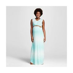 Maternity Cap Sleeve Stripe Belted Maxi Dress Mint/Ivory - Ma Cherie ($35) ❤ liked on Polyvore featuring maternity