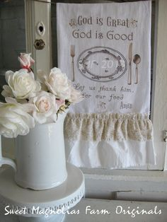 "New for 2013 Flour Sack Kitchen Towel ""God is Great God is Good"" by SweetMagnoliasFarm, $18.00"