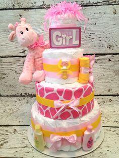 Safari Giraffe Pink Diaper Cake for Girls Grey Baby Shower, Baby Shower Diapers, Baby Shower Fun, Baby Shower Gender Reveal, Baby Shower Cakes, Baby Shower Themes, Baby Shower Decorations, Baby Shower Gifts, Baby Gifts
