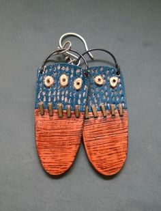 Textured polymer clay earrings by Shelley Atwood