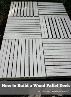How to Build a Wood Pallet Deck : Outdoor Space   Details on HoosierHomemade.com #BHGRefresh