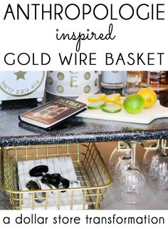 Stylish storage doesn't have to break the bank. Get the look of a high-end Anthropologie gold wire basket on the cheap with this quick dollar store DIY, and get organized in style thanks to @blueistyleblog. http://www.rustoleum.com/product-catalog/consumer-brands/universal/universal-metallic-spray-paint/