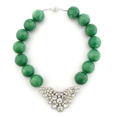 Vintage brooch + faux jade beads