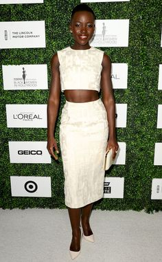 While at the ESSENCE Black Women in Hollywood event, Lupita Nyong'o wore this matching cream two-piece outfit that left the crowd speechless.