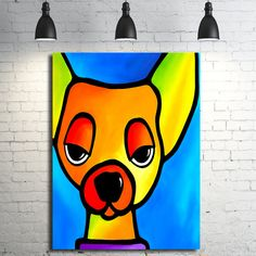 Abstract dog painting original Modern Home Decor by fidostudio