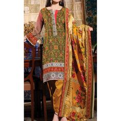 Mehendi Green Printed Cambric Dress Contact: (702) 751-3523 Email: info@pakrobe.com Skype: PakRobe