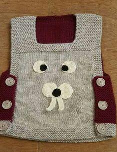 Yapımı kolay ve çok sevimli bir model. Malzemeler: Gri bebe yünü Bordo bebe yünü Siyah , beyaz ip 3 numara şiş 1 numara tığ Düğme Yapılışı: Süvetere önden Baby Knitting Patterns, Baby Patterns, Hand Knitting, Diy Crafts Knitting, Diy Crafts Crochet, Knit Baby Sweaters, Boys Sweaters, Baby Vest, Handmade Bags
