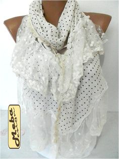 SALE  990 USD White Scarf Elegant scarf  Fashion by MebaDesign