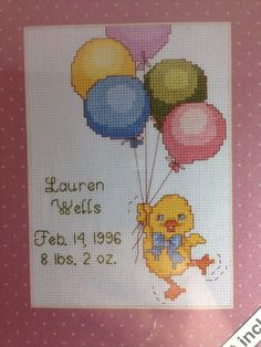 Weekenders Skyscrapers Birth Announcement Counted Cross Stitch Kit Duck Balloons  | eBay