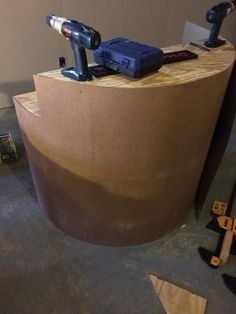 Then he wrapped the front with eucalyptus board.