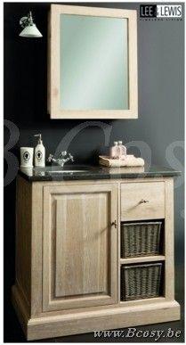 Lee&Lewis Bath Hangkast Met Spiegel Eik Wit Finish 60 Landelijke badkamer-Landelijk badkamermeubel