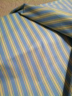 "15 Yds X 45"" POLISHED Glaze COTTON Poly DECORATOR Fabric LT BLUE~YELLOW Stripe"