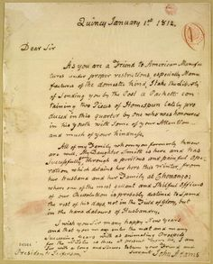 """John Adams writes to Jefferson in 1812 discussing """"two pieces of Homespun."""""""