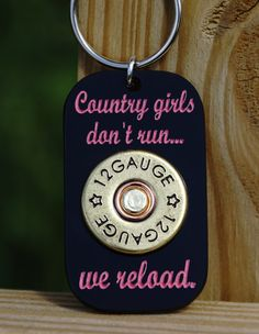 Custom cut acrylic key chain with pink inlay engraving. Brass shotgun shell key chain riveted onto center. This key chain measures 2 x inches. Ammo Jewelry, Brass Jewelry, Stamped Jewelry, Diy Jewelry, Handmade Jewelry, Jewelry Making, Handmade Gifts, Ammo Crafts, Bullet Crafts