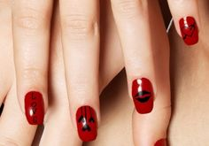Red Black Nails for Valentine's Day Nail Art