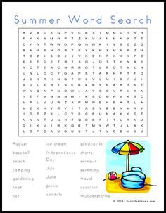 Summer Themed Word Search Printable. Repinned by SOS Inc. Resources pinterest.com/sostherapy/.