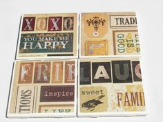 Decorative Tile Coasters Amazing 4 Tile Coasters In Vintage Abroad Themefromdirttodiamonds Decorating Inspiration