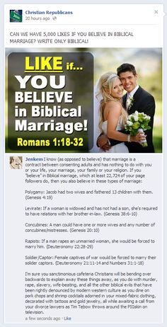 Biblical marriage does not mean just one man and one woman, and if you think it does you obviously aren't reading that book you pretend to believe in Biblical Marriage, Faith In Humanity, In This World, At Least, Believe, Thoughts, This Or That Questions, Equality, Religious Humor