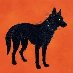 Your heart's a coarse black dog. #artistsoninstagram #digitalart #illustration #design #canine #dog #black #foliage #shuck #grim #dappermouth