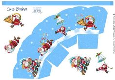 Santa Christmas Gift Basket on Craftsuprint designed by Tanya Hall - Santa Christmas Gift Basket, great for those little treats after a big old dinner, and a fun place setting - Now available for download!