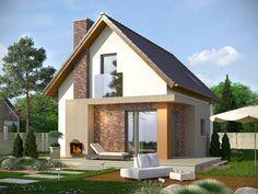 TAROT 2 - projekt małego domku z ciepłym wnętrzem z kominkiem. Studio Krajobrazy. Bungalow Renovation, Attic Design, Minimal Home, Cottage Style Homes, House Elevation, Small House Design, Modular Homes, Facade House, Small House Plans