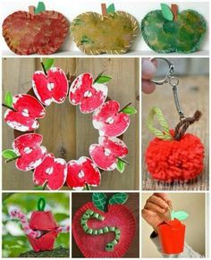 MORE Apple fun! Here are 20 of the best apple crafts from around the web. Lots of ideas to keep you busy! We do love a good Apple Craft to celebrate Fall. Autumn Crafts, Fall Crafts For Kids, Toddler Crafts, Art For Kids, Kids Crafts, Apple Activities, Autumn Activities, Craft Activities For Kids, Craft Ideas